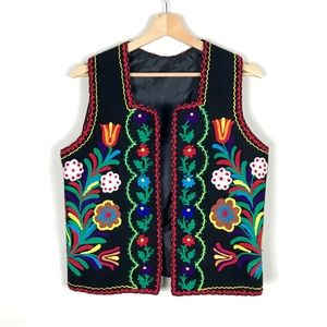 VINTAGE Black Wool Floral Embroidered Vest - M